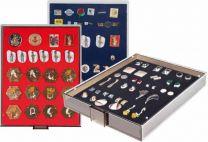 Lindner 2457 Verzamelbox voor speldjes en medailles rookglas rood