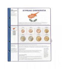 Lindner 8450-18 voordrukblad + muntenblad 3 series munten van Cyprus