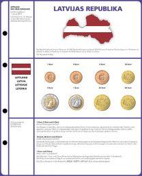 Lindner 8450-21 voordrukblad + muntenblad 3 series munten van Letland