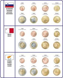 Lindner 8450-36 voordrukblad + muntenblad Slovenie, Malta en Cyprus
