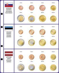 Lindner 8450-39 voordrukblad + muntenblad Slowakije, Estland en Letland