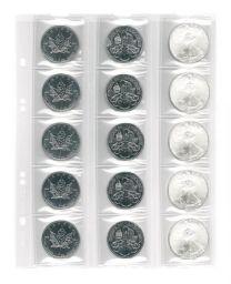 Lindner MU15 muntenblad 15 vaks incl. zwarte tussenbladen 5x