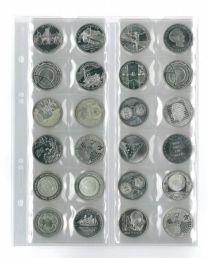 Lindner MU24 muntenblad 24 vaks incl. zwarte tussenbladen 5x